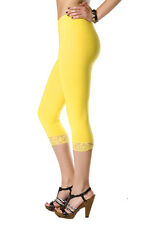 Cropped with Lace Cotton Leggings, 3/4 Length All Colours & Sizes!