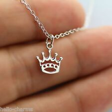 PRINCESS CROWN NECKLACE - 925 Sterling Silver - Queen Crown Charm Necklace *NEW*