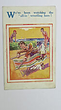 1930s HB Ltd Postcard No 4530 All-In Wrestling WWE Deckchair Bathing Beauty