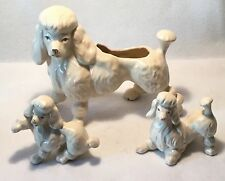 c.1950s 3pc Handcrafted FRENCH POODLE Figural Ceramic Planter & Figurine Set