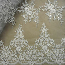 "Vintage 51"" Wide White Corded Embroidery Bridal Lace Fabric Beaded Lace 1/2 Yard"
