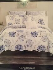 CYNTHIA ROWLEY SHABBY CHIC Queen Quilt FLORAL Blue White Gray Taupe NIP 1 PC
