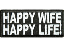 HAPPY WIFE HAPPY LIFE Embroidered Jacket Vest Funny Biker Saying Patch Emblem