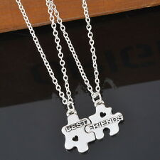 1Set Best Friends Two Puzzle Pieces Pendant Necklace Friendship Gift Vintage