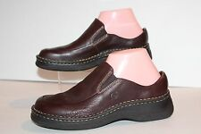 Born Womne's 7.5 Brown Leather Slip on Loafer Clogs Rubber Sole Flat Shoes New