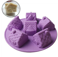 Silicone 6 Mini House Shape Soap Mold ,Birthday Chiffon Cake Mold For Kids DIY