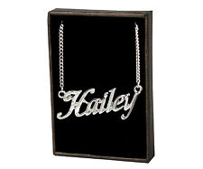 """18K White Gold Plated Name Necklace """"Hailey"""" - Christmas Valentines Birthday"""