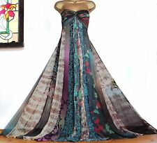 MONSOON ✩ STUNNING SILK CHIFFON PANELLED SCARF BOHO MAXI EVENING DRESS ✩ UK 14 ✩
