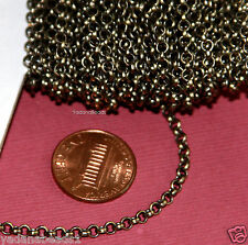 32ft spool of Antique Brass Rollo Chain 3mm Soldered Link