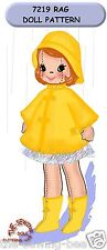 """Girl Rag soft Doll Pattern Rain Outfit 16"""" Vintage  - 3 dimensional No. 7219"""