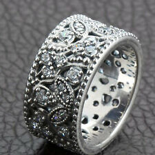 LEAVES 925 Solid Sterling Silver Large Sparkling Stones Ring Band Size 8.5 / 58