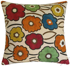 Pia Flower (Orange/Yellow/Red/Blue/Green) Throw Pillow Cover/Cushion Cover 18""