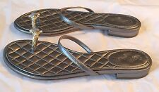 "New Authentic CHANEL $895 Silver ""CC"" Jeweled Logo Flats Sandals - 37"
