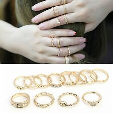 12Pcs Women Rings Gold Plated Crystal Set Knuckle Midi Stacking Korean Jewelry
