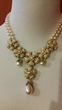 Huge Heavy Sign Miriam Haskell Baroque Pearl Rhinestone Flower Necklace Jewelry