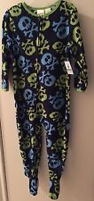 New Toddler Size 4T Boys Fleece Footed Blanket Sleeper Pajamas Skulls Crossbone