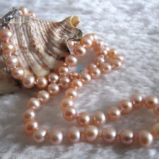"16"" 5-6mm Peach Pink AA Freshwater Pearl Necklace Child Jewelry L"