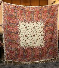 Antique French Paisley Print Piano Shawl 19Th Century Kashmir Design