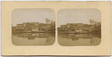 Ville au bord de l'eau à identifier France ? Vintage stéréo albumine ca 1860