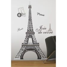New GIANT BLACK & SILVER EIFFEL TOWER WALL DECALS Paris Stickers Modern Decor