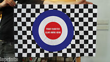 PERSONALISED MOD TARGET CHECKERED FLAG DESIGN FABRIC BANNER FLAG