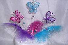 Handmade Pink, Purple,Turquiose wire butterfly and feathers cake topper