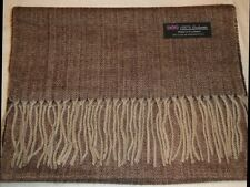 100% Cashmere Scarf Long 72X12 Brown Tweed Herringbone Scottish Wool Check Plaid