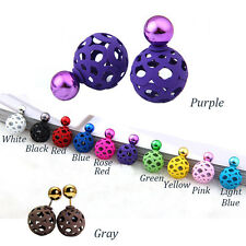 Fashion Celebrity Paragraph Double Side Pearl Stud Earrings Big Pearl Earrings