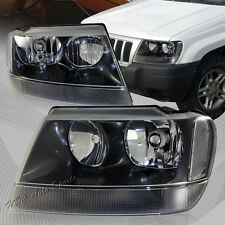 For 1999-2004 Jeep Grand Cherokee Black Housing Headlights W/ Clear Reflector