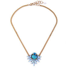 Hot Fashion Blue Crystals Flower Pendent Gold Chain Pearl Necklace