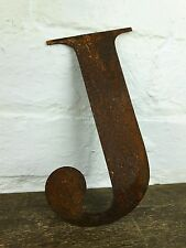 J Rusty Rusted Steel Metal Letter Industrial Sign Garden Decoration Ornament
