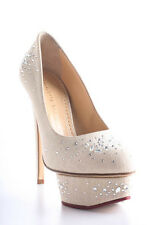Charlotte Olympia Beige Bejeweled Dolly Stiletto Pumps Size 36 6 New In Box