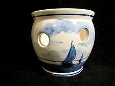Delft Ivory & Blue Blauw Pottery Planter Bowl Ship Windmill Hand Painted Holland