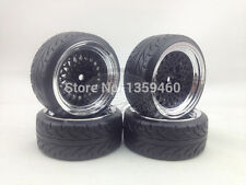4x 1/10 BBS STYLE BLACK CHROME RC DRIFT WHEEL TYRE SET 6mm OS / 12mm HEX. NEW