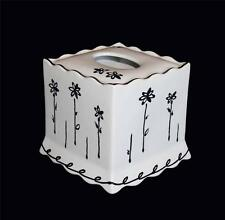 FREEHAND Matte Black & Off-White Abstract Flowers Scalloped Tissue Box Cover NWT