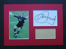 LIVERPOOL JERZY DUDEK GENUINE HAND SIGNED A4 MOUNTED CARD & PHOTO DISPLAY - COA