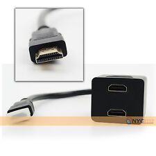 1 HDMI Male to Dual HDMI Female Switch HDMI Y Splitter Cord Cable Adapter