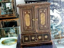 RARE ANTIQUE ORIENTAL WOOD JEWELLERY / CHEST BOX BRASS DECORATION CHINA C 1800'S