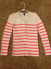 J.Crew Neon Pink Striped Ribbed Jersey Long Sleeve Shirt Women's Size Small