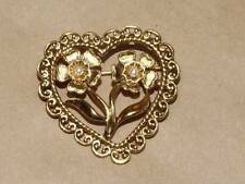 Vtg Art Nouveau 2 Flowers in a Heart Open Work Filigree Faux Pearl Pin Brooch