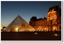 Louvre Museum at Night - Paris France - French Museum Travel - NEW POSTER