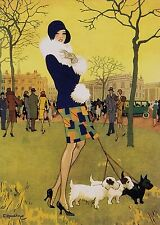 ART DECO BEAUTIFUL LADY Walking her Highland Terriers.. A  3 size PHOTO PRINT.