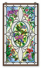 "AMIA STAINED GLASS 13"" x 23"" VINTAGES HUMMINGBIRD WINDOW PANEL  #41657"