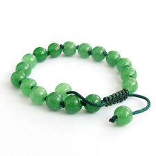 8mm Green Jade Gem Tibet Buddhist Prayer Beads Mala Bracelet-Knot Between Beads