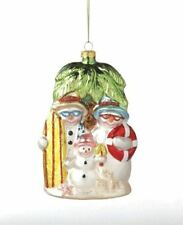 Snowman Family Under Tropical Palm Tree Glass Christmas Holiday Ornament