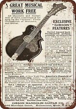 """7"""" x 10"""" Metal Sign - 1911 Gibson Guitars and Mandolins - Vintage Look Reproduct"""