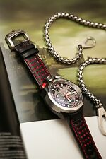 BOMBERG BOLT 68 QUARTZ CHRONO RED LEATHER STRAP WATCH
