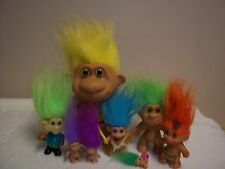 Lot of 7 Troll Dolls & 1 Troll Doll Ring