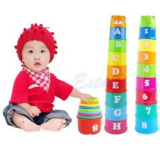 1 Set Baby Children Kids Educational Toy Figures Letters Folding Cup Pagoda GOCG