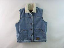 Lauren Jeans Co Denim Blue Jean Vest Faux Fur Sherpa Size PM